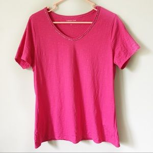 Coldwater Creek V Neck Pink T-shirt
